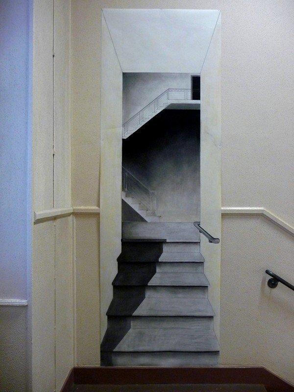 Perspective in situ au fusain. dans travaux plastiques fusain-escaliers-8