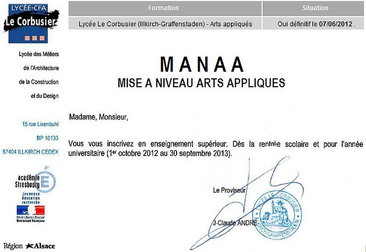 Acceptation en MANAA ! dans travaux plastiques mmm